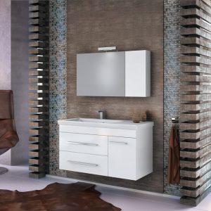 Drop Status 100 Έπιπλο Μπάνιου Κρεμαστό 100cm Σετ με Νιπτήρα και Καθρέπτη