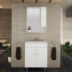 Drop Μίλητος 60 Λευκό Έπιπλο Μπάνιου 60cm Σετ με νιπτήρα και καθρέφτη