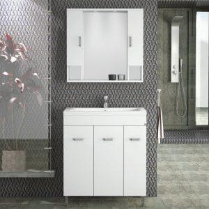 Drop Μίλητος 80 Λευκό Έπιπλο Μπάνιου 80cm Σετ με νιπτήρα και καθρέφτη