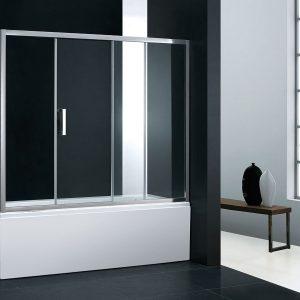 Devon SLIDER PLAZA SLBD 150 Πόρτα Μπανιέρας Clear/Stripes με 1 σταθερό & 1 συρόμενο φύλλο
