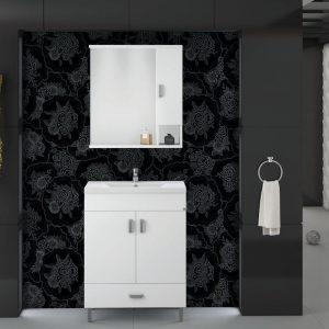 Drop Μίλητος 70 Λευκό Έπιπλο Μπάνιου 70cm Σετ με νιπτήρα και καθρέφτη