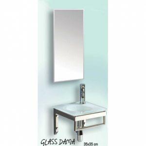 Gloria Glass Dama (18-2010) 35x35 cm Έπιπλο Μπάνιου Κρεμαστό Νιπτήρας Με Μεταλλική Βάση και Καθρέπτη