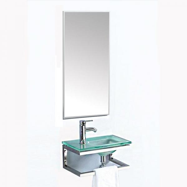 Gloria Glass Dato (18-8011) 46x28 cm Έπιπλο Μπάνιου Κρεμαστό Νιπτήρας Με Μεταλλική Βάση και Καθρέπτη