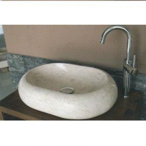 Bati Ovalite 55x40x13 cm Νιπτήρας  Μπάνιου Επιτραπέζιος/Επικαθήμενος Πέτρινος Beige/Nero