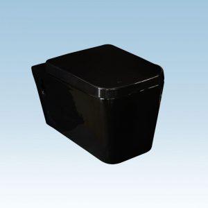 Κεραφίνα Top Lux Μαύρη (ΚΤ0118) Λεκάνη Κρεμαστή Κομπλέ Σετ