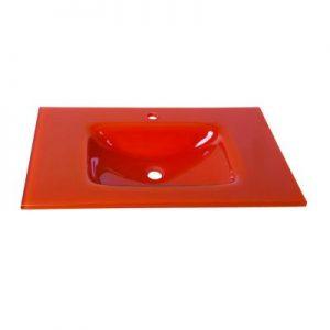 Νιπτήρας Μπάνιου Γυάλινος Ένθετος Επίπλου Gloria σειρά Glass-u Πορτοκαλί (32-9009)