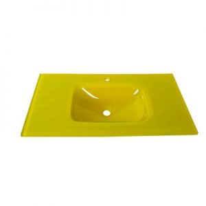Νιπτήρας Μπάνιου Γυάλινος Ένθετος Επίπλου Κίτρινος Gloria σειρά Glass-u (40-9009)