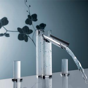 Μπαταρία Νιπτήρος 3 οπών πάγκου με ροή καταρράκτη Hego Flower 0FW00033 από γυαλί