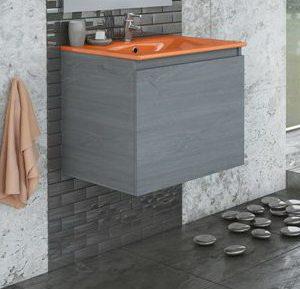 Έπιπλο Μπάνιου Κρεμαστό 60cm Drop Navara Gray με νιπτήρα πορτοκαλί