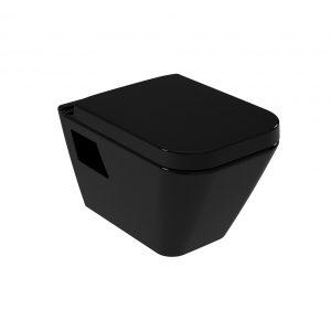 Serel Diagonal DG1000 Μαύρη Κρεμαστή Λεκάνη Τουαλέτας Με Κάλυμμα Μαύρο 53cm