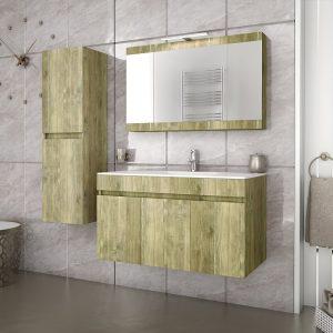 Drop Magnolia 90 Gold Oak Έπιπλο Μπάνιου Κρεμαστό 90cm Σετ με νιπτήρα και καθρέφτη