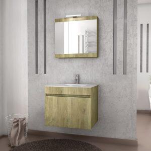 Drop Magnolia 60 Gold Oak Έπιπλο Μπάνιου Κρεμαστό 60cm  Σετ με νιπτήρα και καθρέφτη