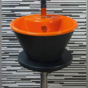 Crystal Black-Orange Επιτραπέζιος/Επικαθήμενος Νιπτήρας 41cm Μαύρος-Πορτοκαλί