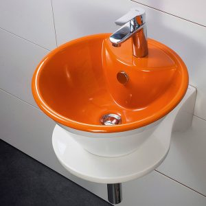 Crystal White-Orange Επιτραπέζιος/Επικαθήμενος Νιπτήρας 41cm Λευκός-Πορτοκαλί