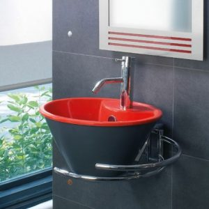 Crystal Black-Red Επιτραπέζιος/Επικαθήμενος Νιπτήρας 41cm Μαύρος-Κόκκινος