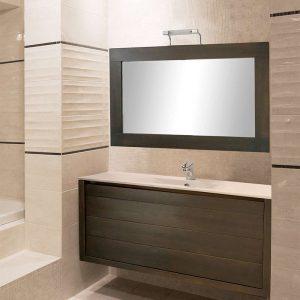 AncoBath Arte 90 cm Έπιπλο Μπάνιου Κρεμαστό απο Κόντρα Πλακέ Θαλάσσης με Νιπτήρα και Καθρέπτη