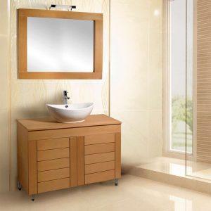AncoBath Line 100 cm Έπιπλο Μπάνιου απο  Κόντρα Πλακέ Θαλάσσης με Καθρέπτη