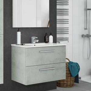 Aruba Cemento 80cm Έπιπλο Μπάνιου Κρεμαστό Σετ με νιπτήρα και καθρέφτη