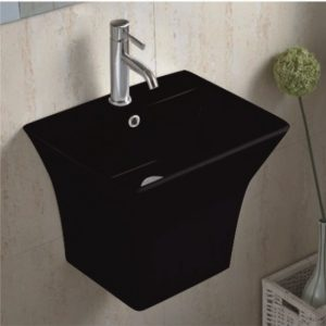 ICC 4837 Black Νιπτηρας Μπάνιου Μαύρος Κρεμαστός 48.5Χ43cm
