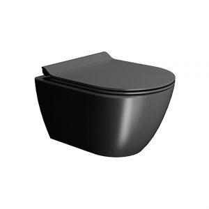 GSI Pura Swirl  Ardesia Μαύρη Λεκάνη Κρεμαστή με κάλυμμα Slim Soft Close 881600SC-401