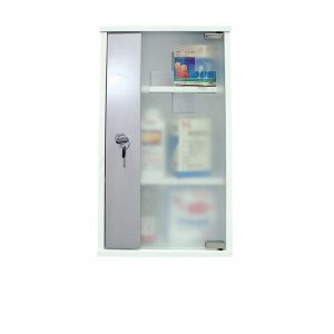 250771 Φαρμακείο Ντουλάπι με κλειδί, λευκό με τζάμι αμμοβολής, 26x12x48h