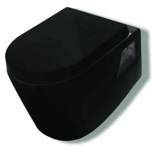 Huida Skay Black ΛεκάνηΤουαλέτας 54 εκ. Κρεμαστή Μαύρη με Κάλλυμα Soft close 38-0427