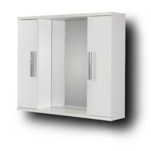3MAL075 Καθρέπτης Μπάνιου με 2 Ντουλάπια Κρεμαστός Λευκός 75cm