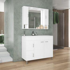 Drop Μίλητος 100 Λευκό Έπιπλο Μπάνιου 100cm Σετ με νιπτήρα και καθρέφτη