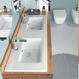Bianco Ceramica Flat 36120 Νιπτήρας Μπάνιου Διπλός 121,6x46cm Ενθετος/Κρεμαστός