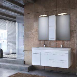Drop Status 120 Έπιπλο Μπάνιου Κρεμαστό 120cm Σετ με νιπτήρα και καθρέφτη Λευκό