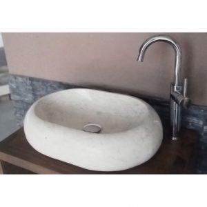 Bati Bali Ovalite Bianco Πέτρινος Νιπτήρας Μπάνιου  Επικαθήμενος